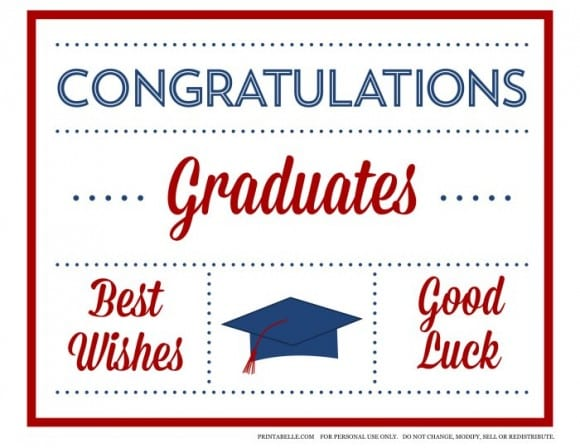 Free Red & Blue Preppy Graduation Party Printables | CatchMyParty.com