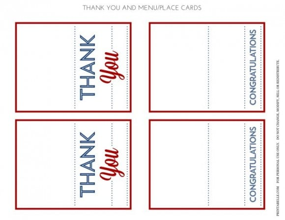 Free Red & Blue Preppy Graduation Party Menu and Thank You Cards | CatchMyParty.com