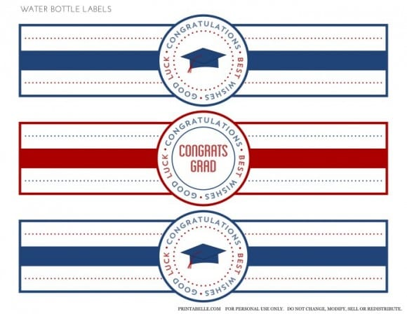 Free Red & Blue Preppy Graduation Party Printable Water Labels | Catchmyparty.com