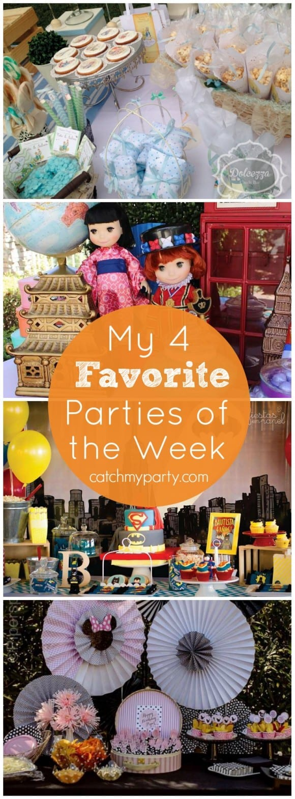 My 4 Favorite Parties: Minnie Mouse Bowtique Party, It's a Small World Party, Lego Superhero Party, and Peter Rabbit 1st Birthday | Catchmyparty.com