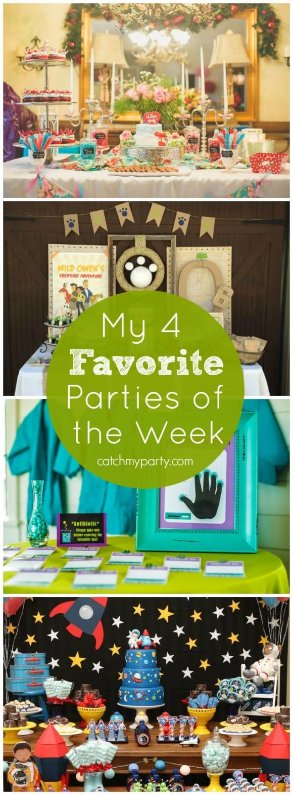 My 4 Favorite Parties of the Week include a retro housewife bridal shower, a Wild Kratts party, a girl science spa party, and an outer space party! | Catchmyparty.com