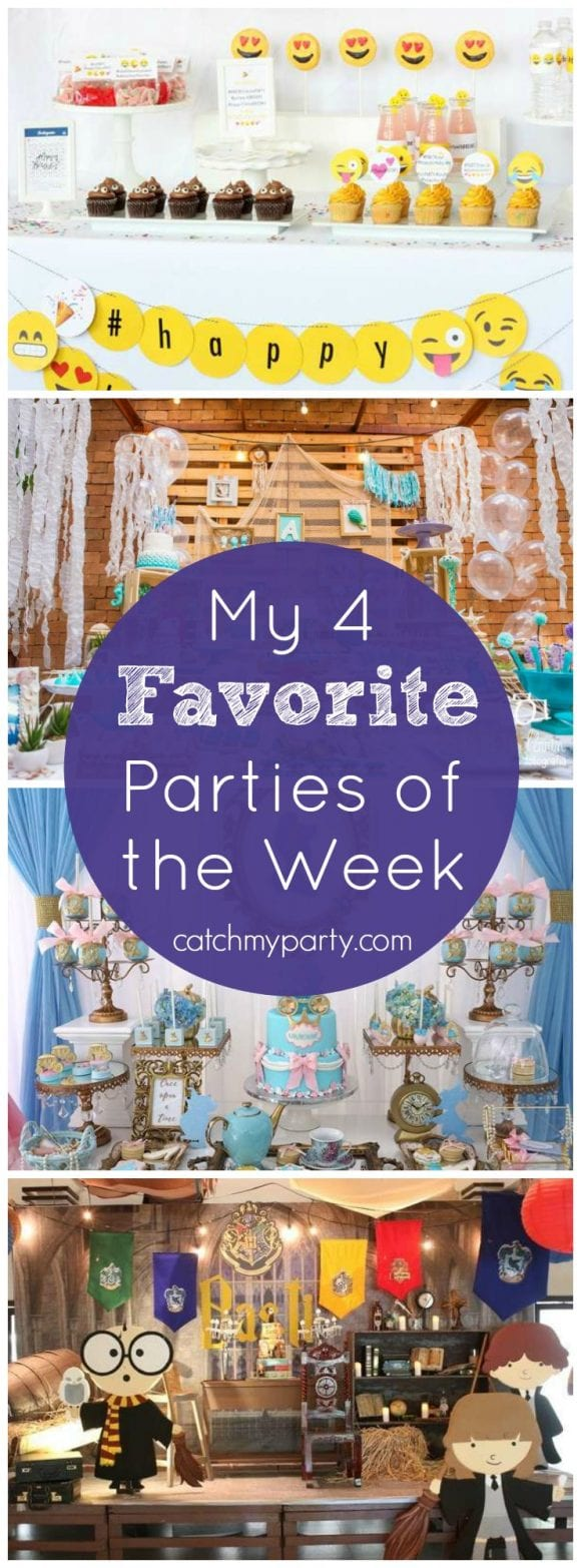 My four favorite parties of the week include an emoji Instagram party, a mermaid party, a blue Cinderella party, Harry Potter party | Catchmyparty.com