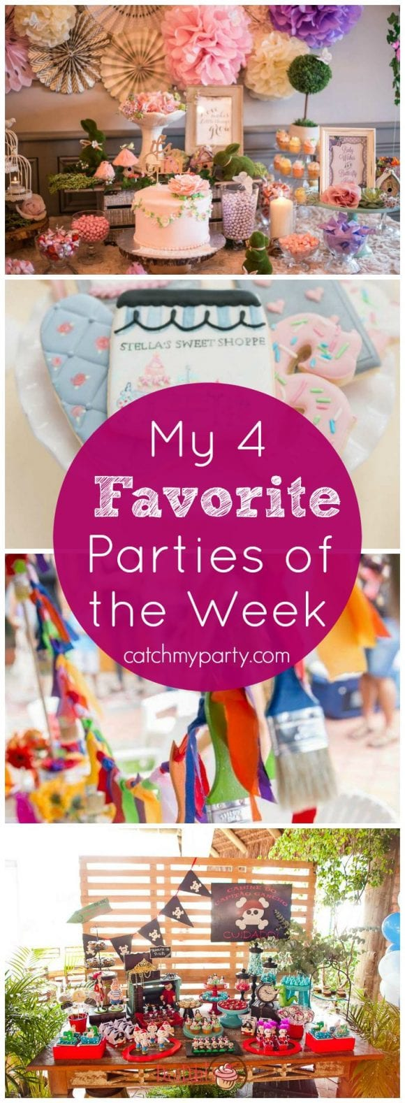 My 4 Favorite Parties of the Week include an enchanted garden baby shower, a sweet shoppe birthday, a painting party, and a Peter Pan birthday! | Catchmyparty.com