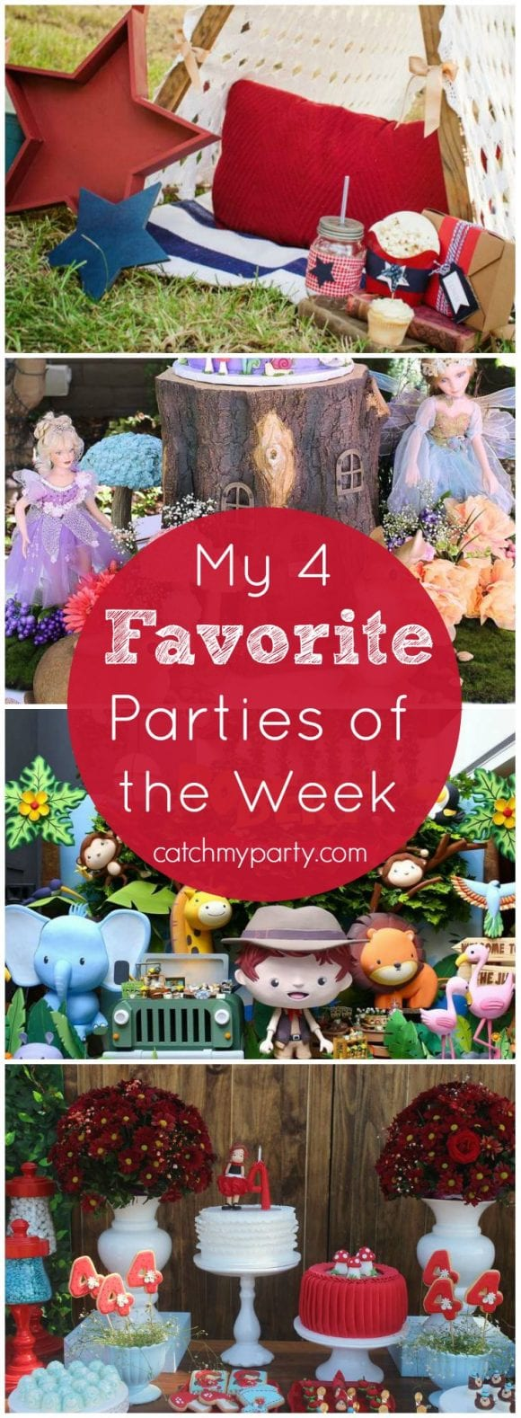 This week my favorite parties include: a red, white, and blue patriotic party, an enchanting fairy garden birthday, a wild jungle safari party, and a Little Red Riding Hood birthday party! | CatchMyParty.com