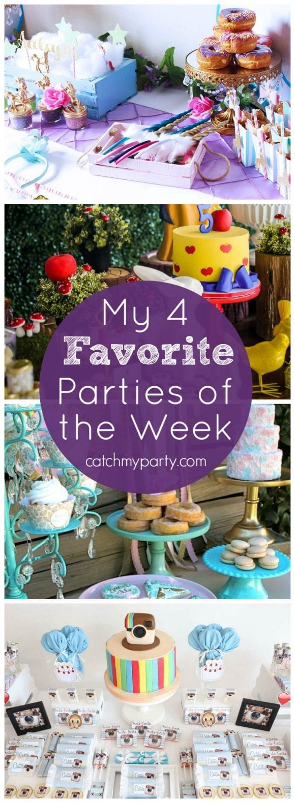 My 4 favorite parties of the week include a unicorn birthday party, a snow white birthday party, a boho chic sweet 16, and an Instagram party! | Catchmyparty.com