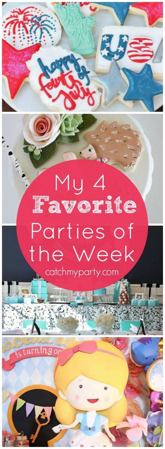 My favorite parties this week: a Star Spangled July 4th BBQ, a Breakfast at Tiffany's party, an Alice in Wonderland tea party and a woodland pixie party! | CatchMyParty.com
