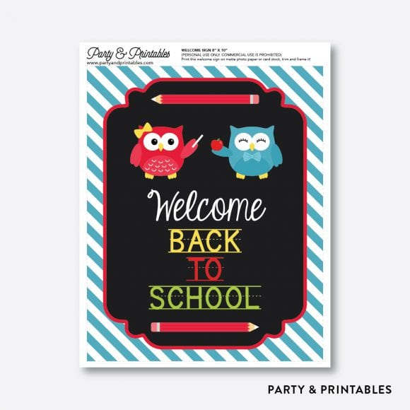 Free Back-To-School Owl Printables - Welcome Sign | CatchMyParty.com