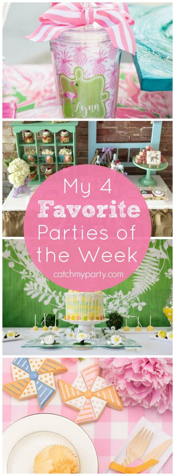 My favorite parties are a Lilly Pulitzer bridal shower, a cowgirl summer party, a white daisy party, and a country fair pinwheel party