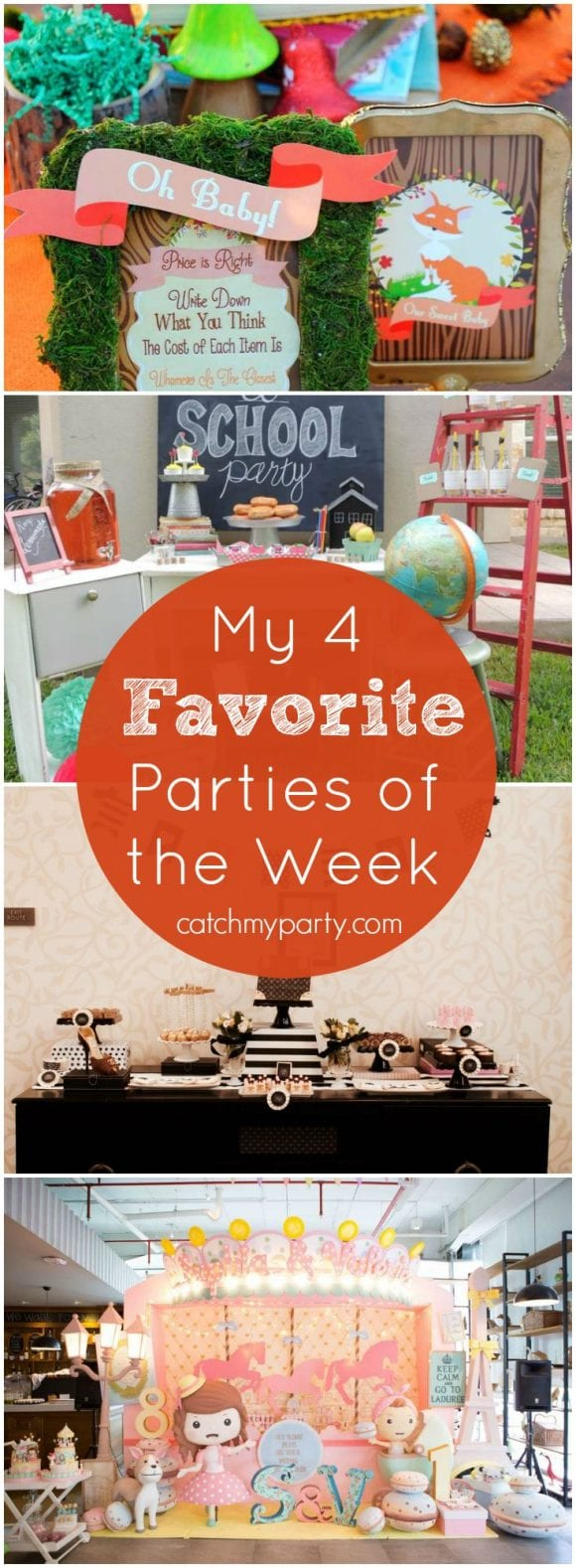 My favorite parties are a woodland baby shower, a back to school party, a stylish fashion party, and a French Paris party | Catchmyparty.com