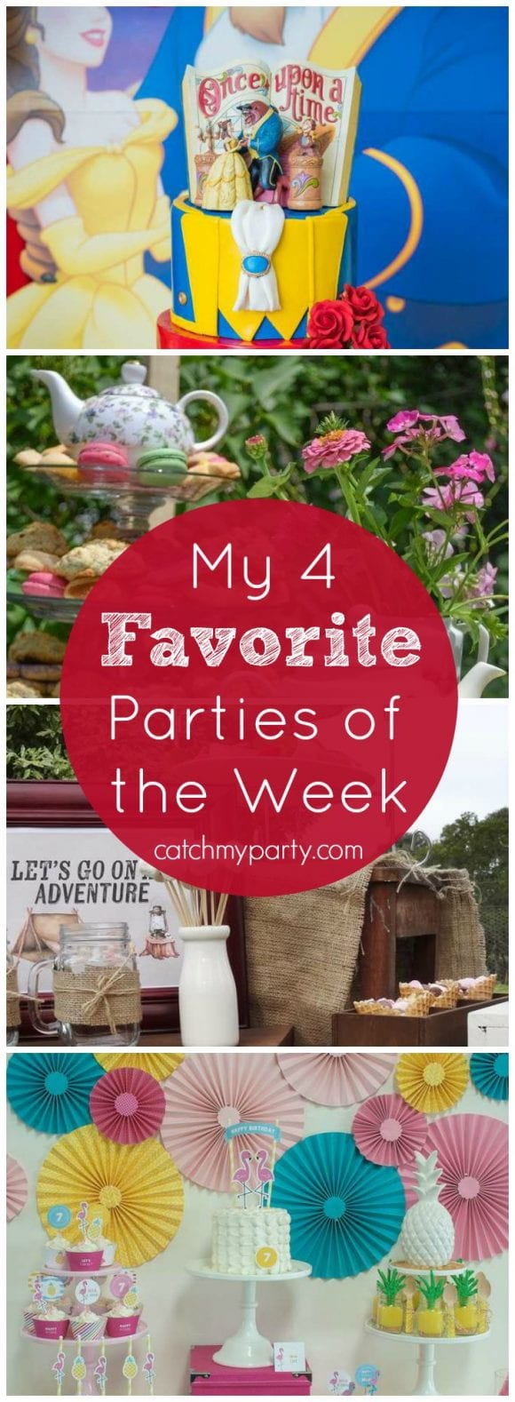 My favorite parties this week are a Beauty and the Beast party, a floral tea party, a camping party, and a flamingo party | Catchmyparty.com