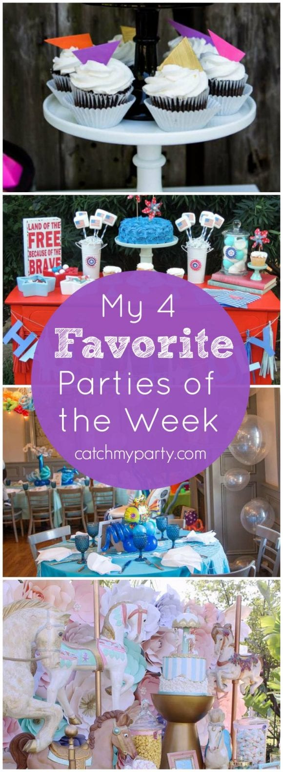 My favorite parties this week are a geometry party, a patriotic 4th of July party, a under the sea boy birthday party , and a carousel dreams pastel birthday party