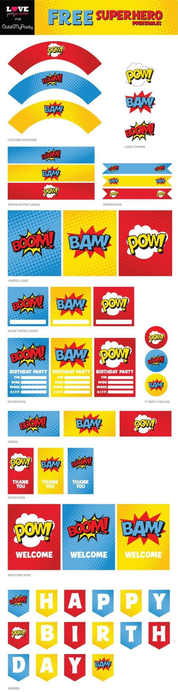 Free Superhero Party Printables | CatchMyParty.com