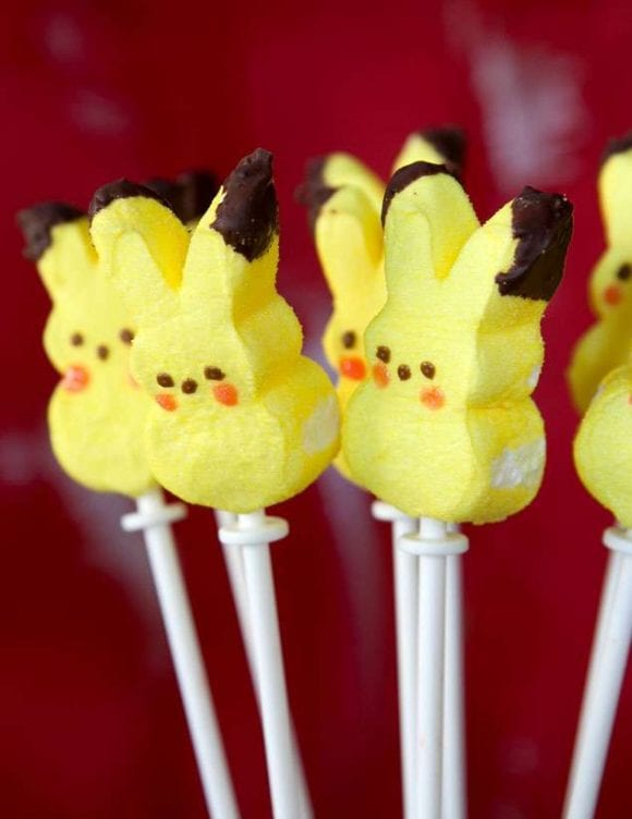 Pokemon Go Party Ideas - Pikachu Marshmallow Pops | Catchmyparty.com