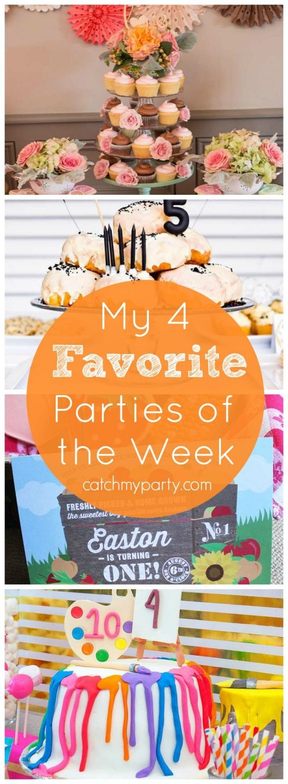 My favorite parties are a kitchen bridal shower, a donut party, a farmer's market party and a neon art party | Catchmyparty.com