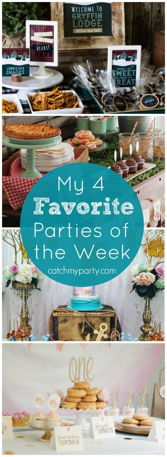 My favorite parties this week: a lumberjack 1st birthday, a farmer's market baby shower, a mermaid party, and a donut first birthday | Catchmyparty.com