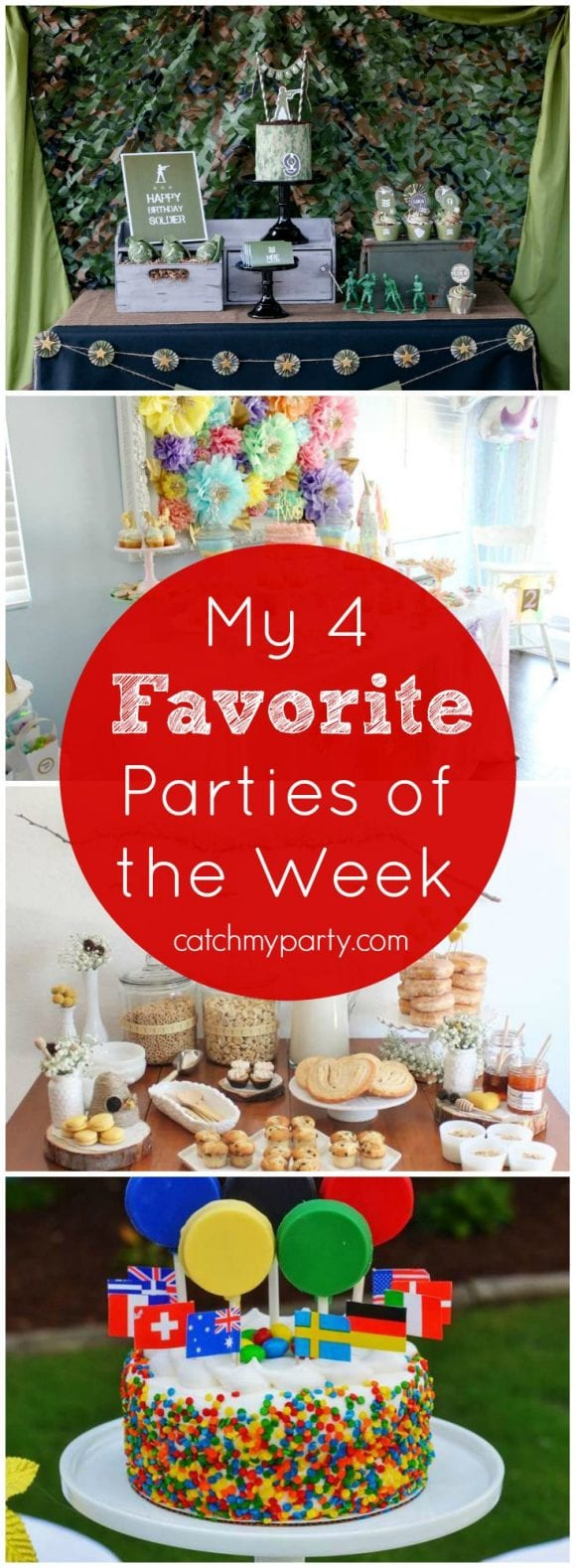 My favorite parties this week are a rainbow unicorn party, a toy soldiers party, a bumblebee shower, and an Olympics party | Catchmyparty.com
