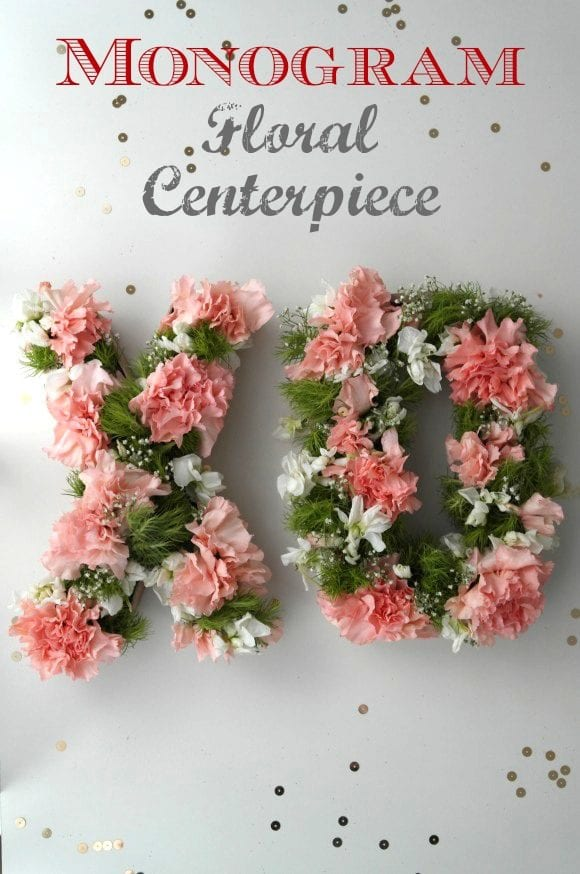 Monogram Floral Centerpiece | CatchMyParty.com