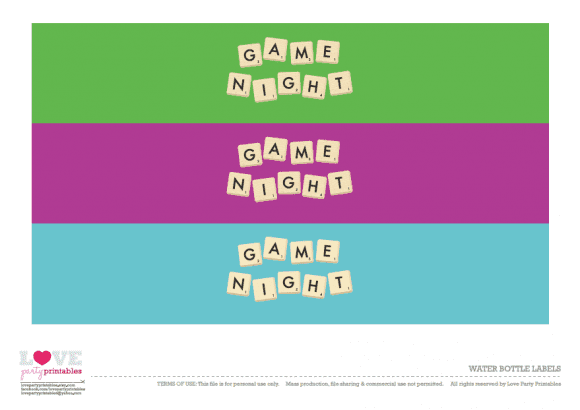 Free Game Night Water Bottle Labels | CatchMyParty.com