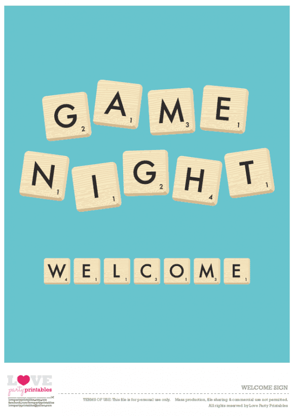 Free Game Night Welcome Sign Printable | CatchMyParty.com