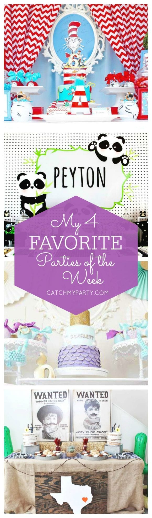 My favorite parties this week include a Dr. Seuss Birthday Party, a panda birthday party, a mermaid 1st birthday party and a western rodeo party for twins! | Catchmyparty.com