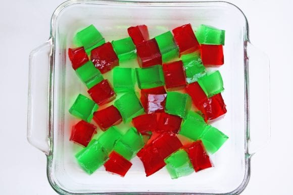 Cut Jello Arranged in the Bottom of the Baking Dish | CatchMyParty.com