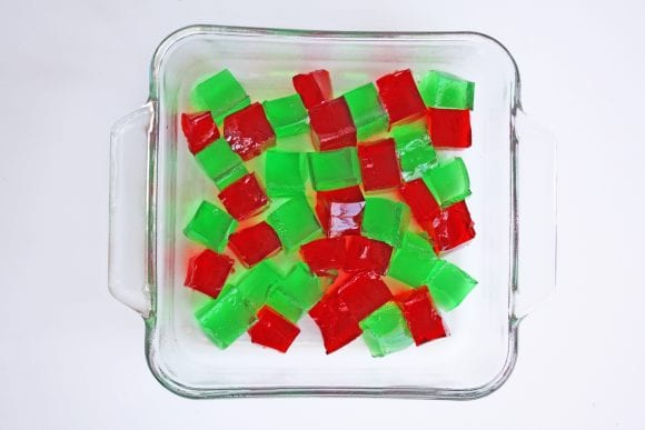Red and Green Jello Cut into Cubes | CatchMyParty.com