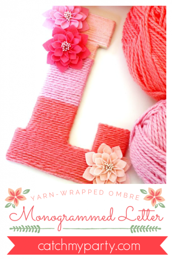 Yarn Wrapped Ombre Monogrammed Letter | CatchMyParty.com