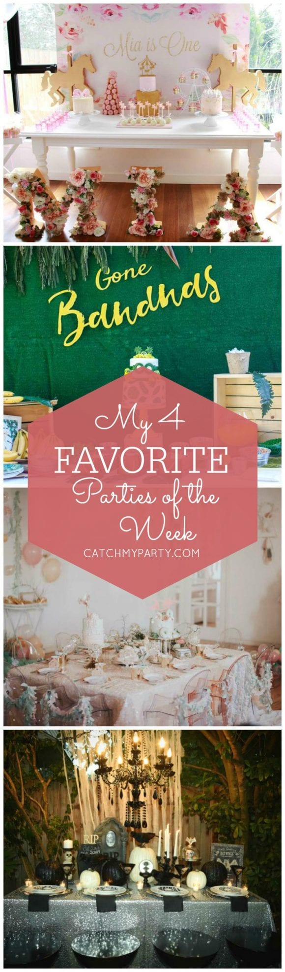 My favorite parties this week include a Carousel 1st birthday party, a Minions birthday party, a Mermaid birthday party and a Glam Halloween dinner party! | Catchmyparty.com