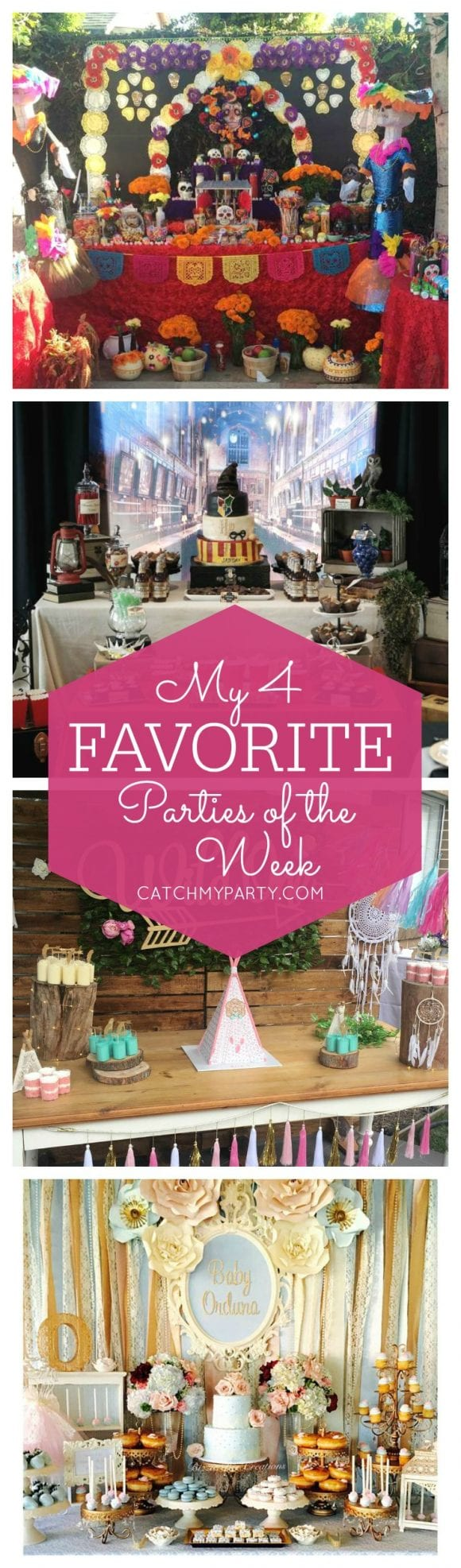 My favorite parties this week include a Dia de los Muertos birthday party, a Harry Potter birthday party, a Wild One 1st birthday party and a Vintage Victorian baby shower! | Catchmyparty.com