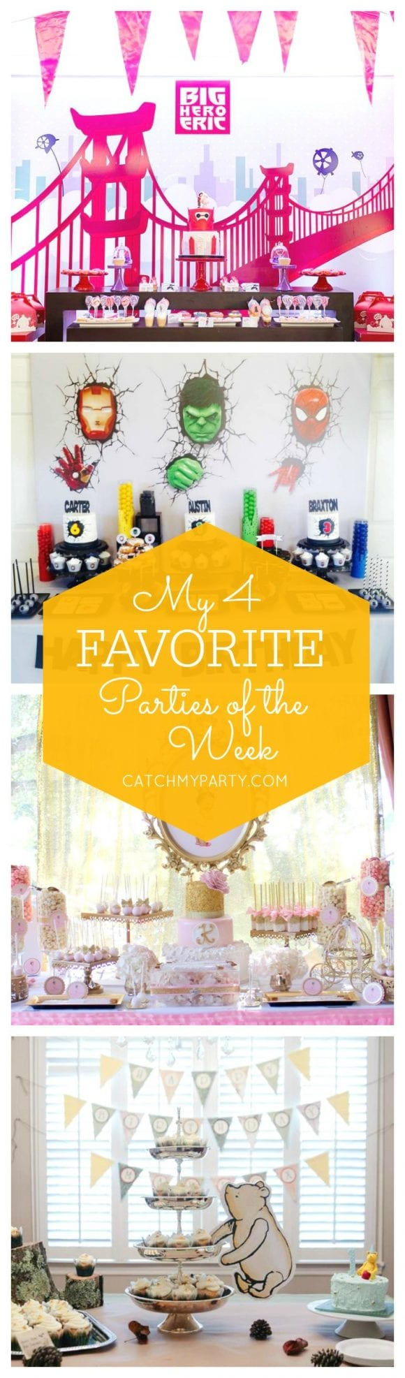 My favorite parties this week include a Big Hero 6 birthday party, a superhero birthday party, a princess baby shower and a Pooh bear 1st birthday party! | Catchmyparty.com