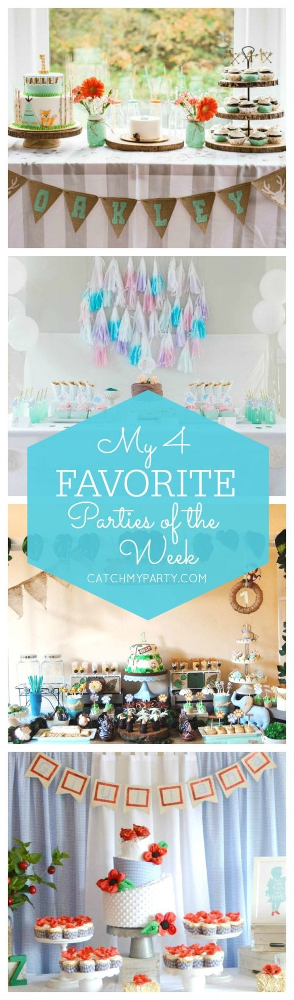 My favorite parties this week include an adorable woodland birthday party, an pretty mermaid birthday party, a cute jungle animals birthday party and a modern Wizard of Oz baby shower.