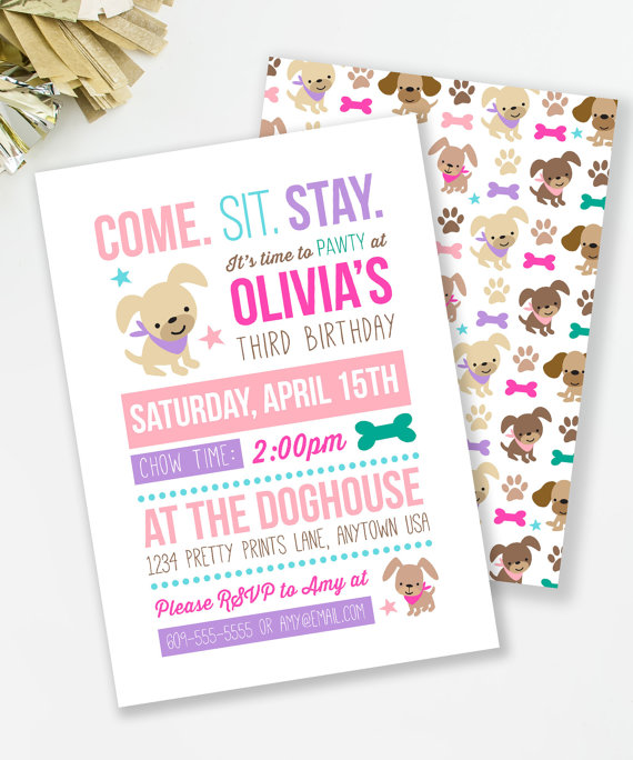Puppy party invitation | CatchMyParty.com