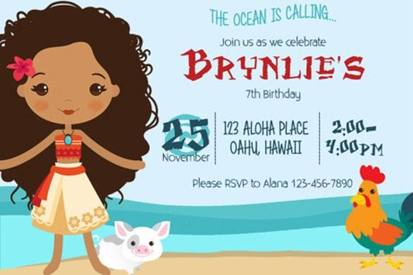 Moana Birthday Party Invitation