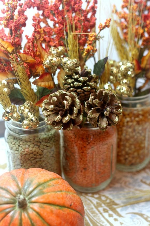 Autumn Mason Jar Floral Centerpiece | CatchMyParty.com
