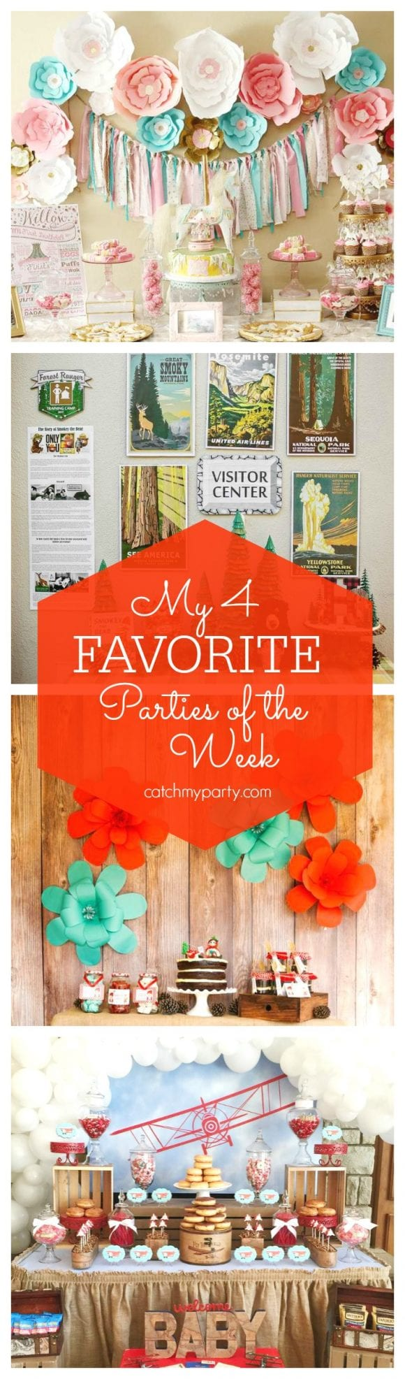 My 4 Favorite Parties of the Week are a magical Carousel 1st birthday, a National Park party, a Little Red Riding Hood Picnic party and a vintage airplane Baby Shower | CatchMyParty.com