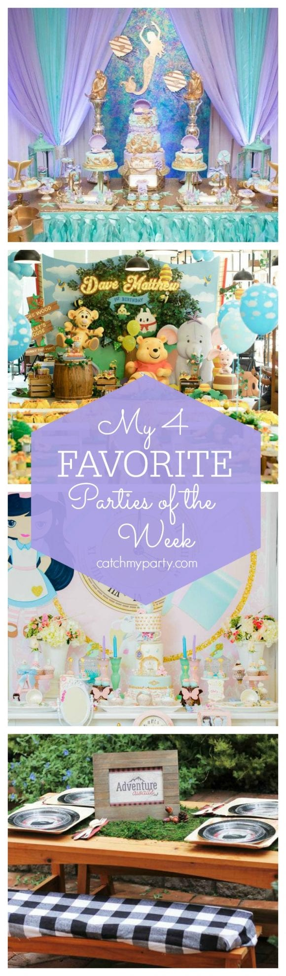 My favorite parties this week include a pretty Under the Sea baby shower, a Pooh Bear birthday, a pretty Alice in Wonderland party and a fun Lumberjack birthday | CatchMyParty.com