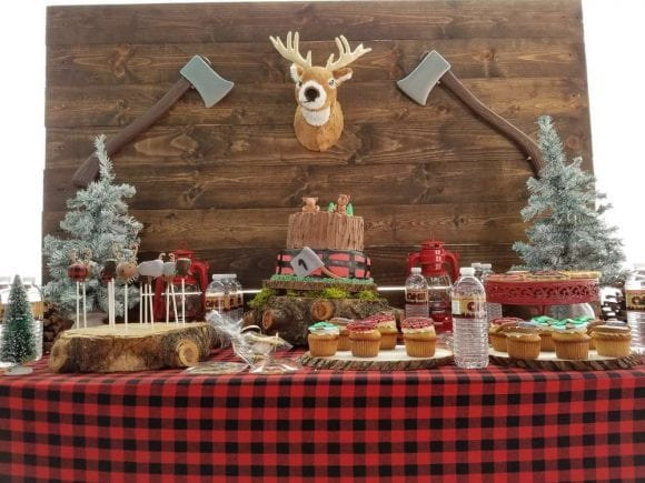 Lumberjack 1st Birthday Backdrop | CatchMyParty.com