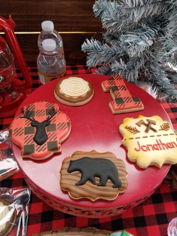 1st Birthday Lumberjack Cookies | CatchMyParty.com