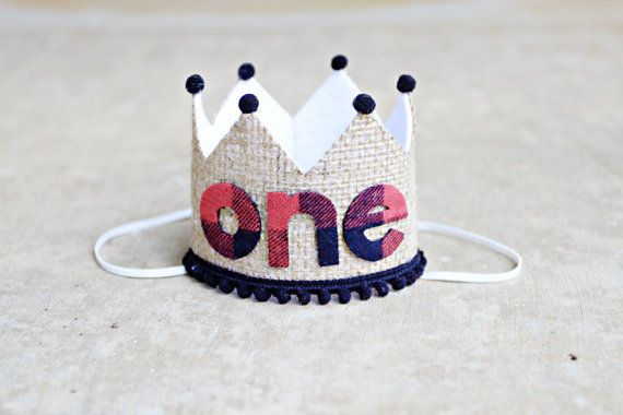 Lumberjack 1st Birthday Crown | CatchMyParty.com