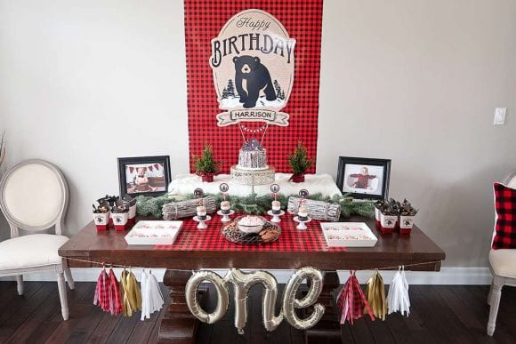 1st Birthday Lumberjack Dessert Table | CatchMyParty.com