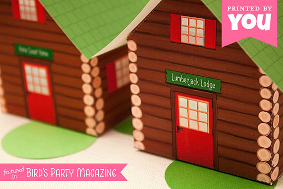 Log Cabin Party Favor Boxes | CatchMyParty.com
