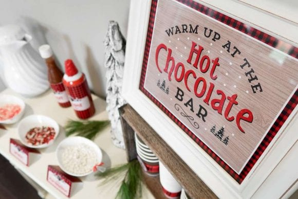 1st Birthday Lumberjack Hot Chocolate Bar | CatchMyParty.com
