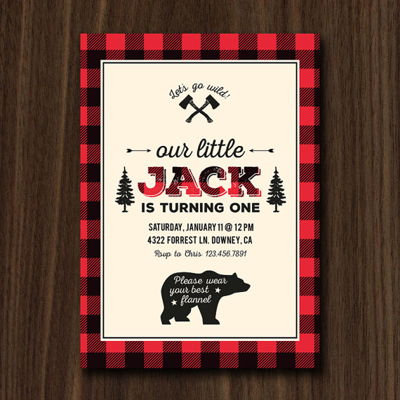 1st Birthday Lumberjack Party Invitation | CatchMyParty.com