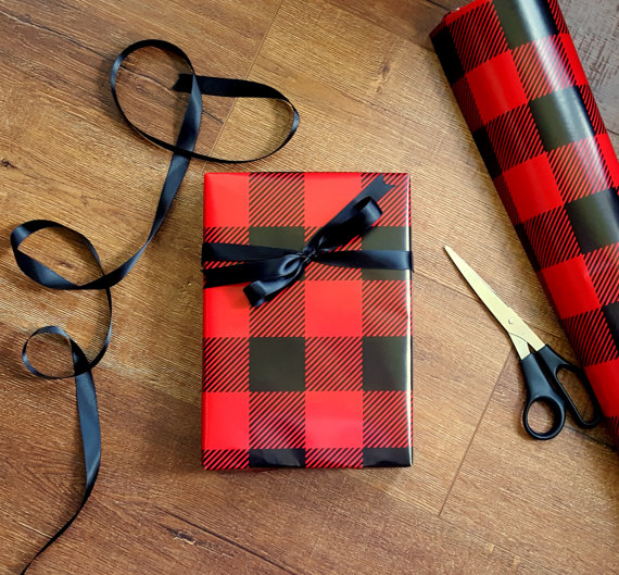 Lumberjack Plaid Wrapping Paper | CatchMyParty.com