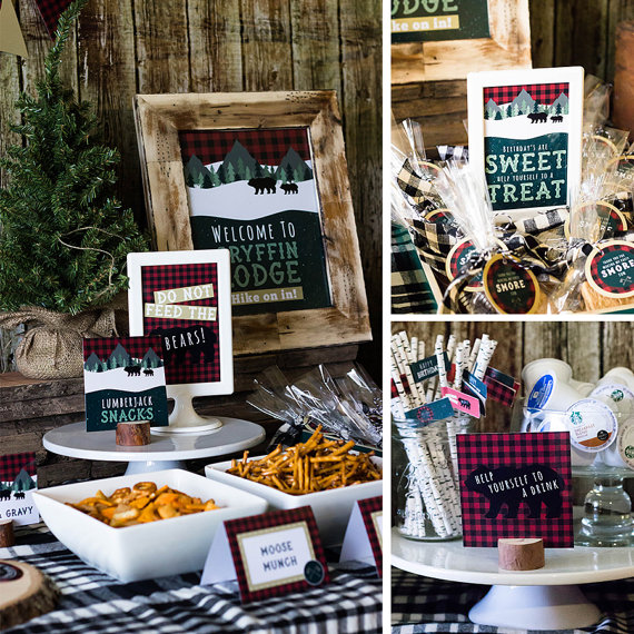 Lumberjack Printable Table Signs | CatchMyParty.com