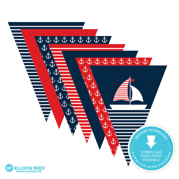 Nautical printable banner | CatchMyParty.com