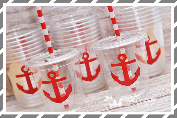 Nautical party cups | CatchMyParty.com