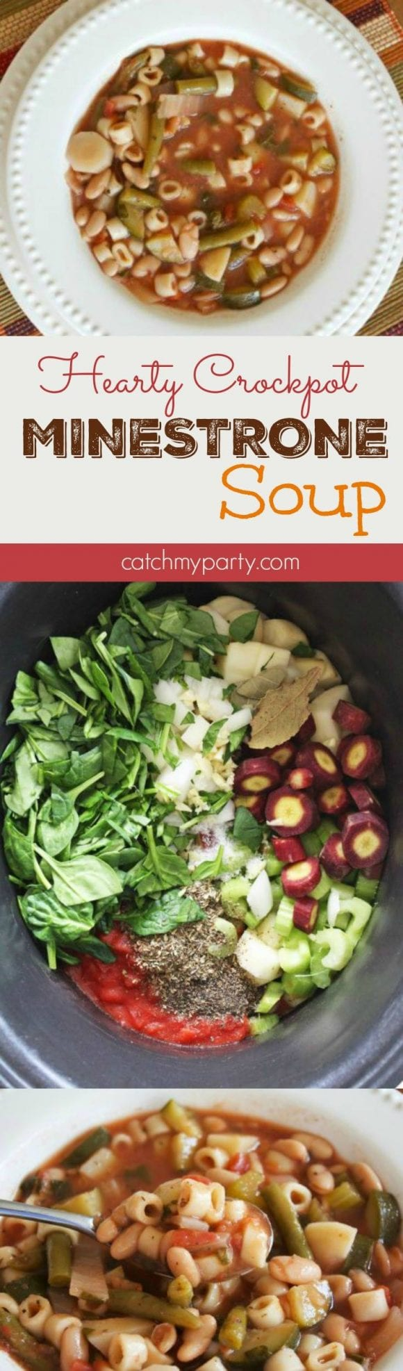 Hearty Crockpot Minestrone Soup | CatchMyParty.com
