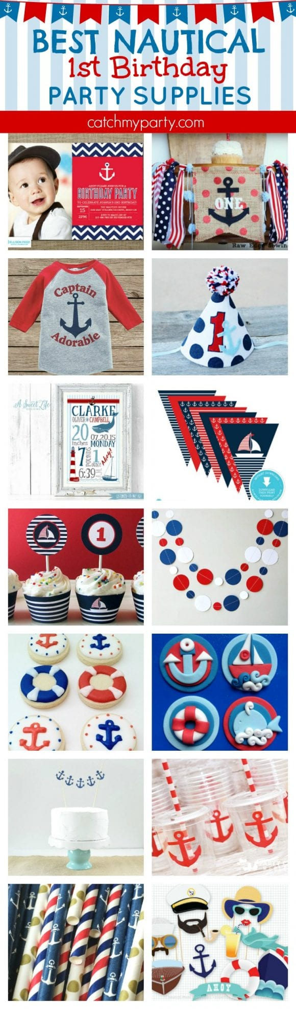 Best nautical 1st birthday party supplies | CatchMyparty.com