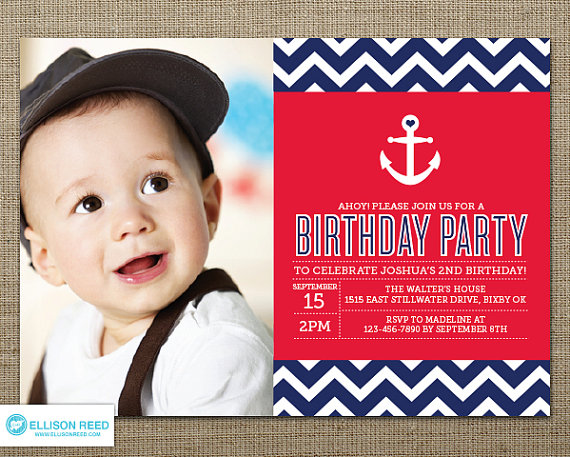 Nautical 1st Birthday Party Invitation | CatchMyParty.com